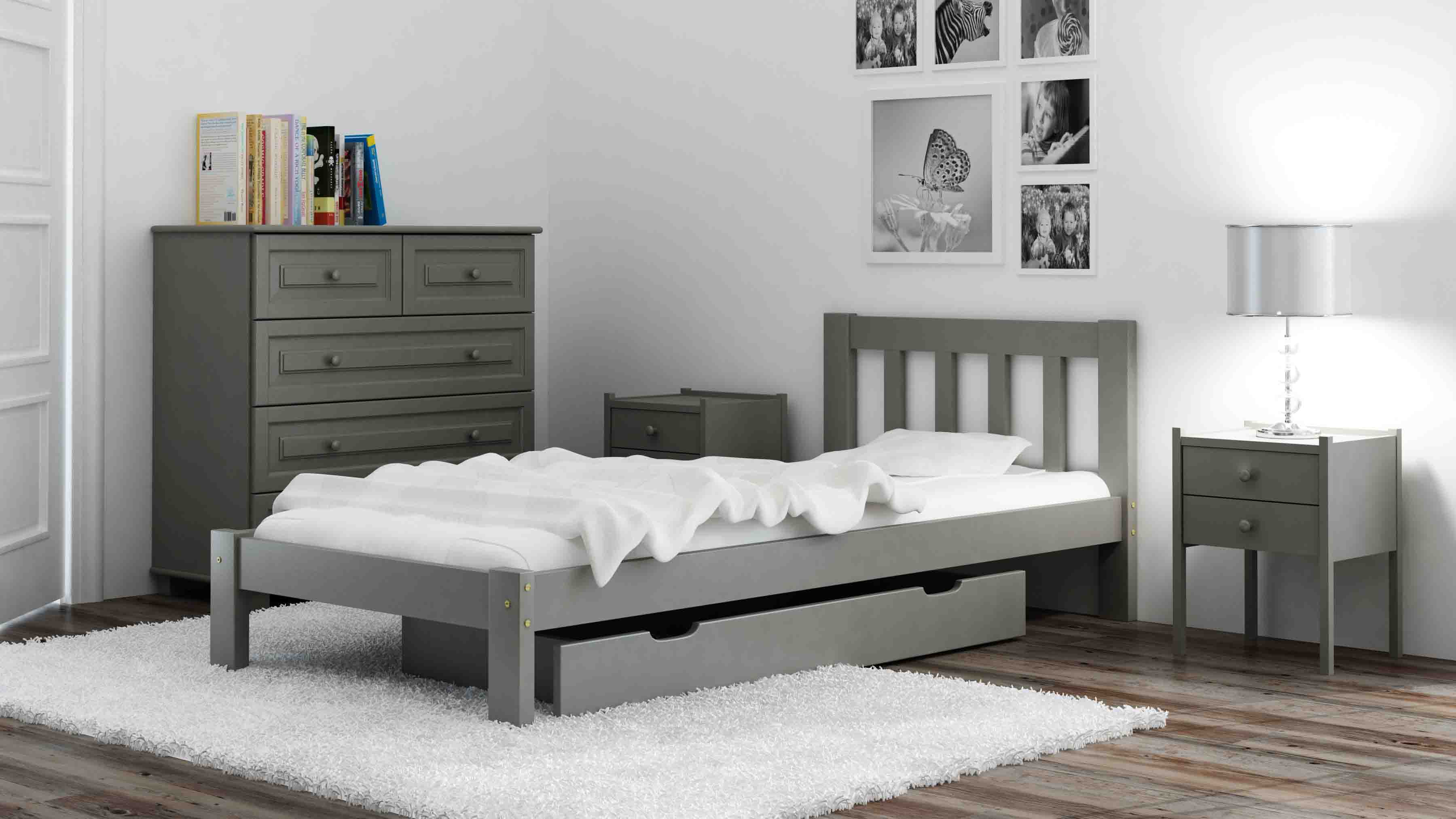 bett massivholzbett lattenrost 90x200 ehebett jugendbett holzbett in 2 farben ebay. Black Bedroom Furniture Sets. Home Design Ideas