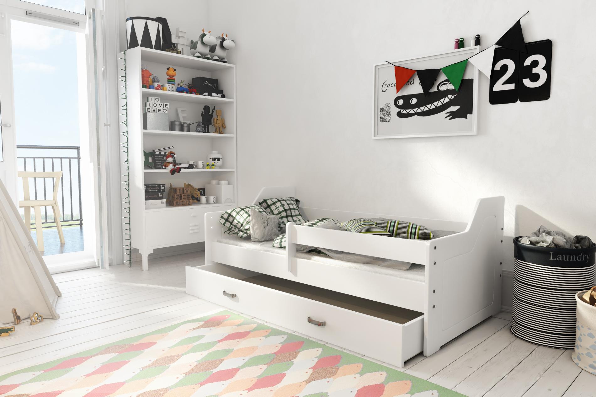bett jugendbett kinderbett babybett mit schublade und lattenrost 160x80 wei ebay. Black Bedroom Furniture Sets. Home Design Ideas