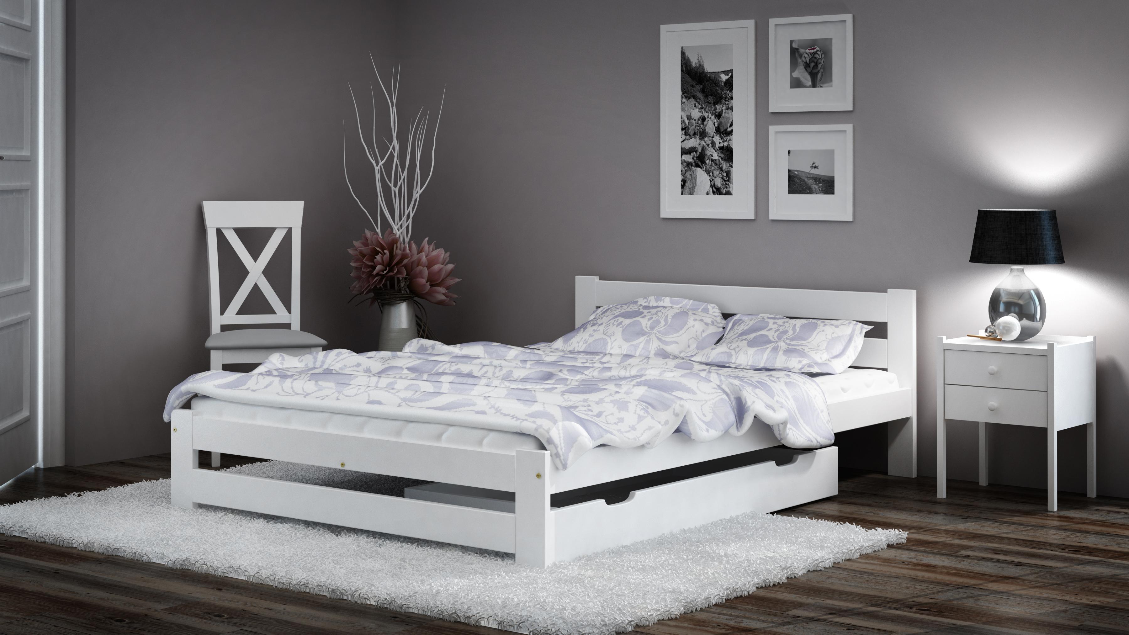 Details zu Holzbett Bett Doppelbett weiß Set Nachttisch Bettkasten Matratze  Kiefer lackiert