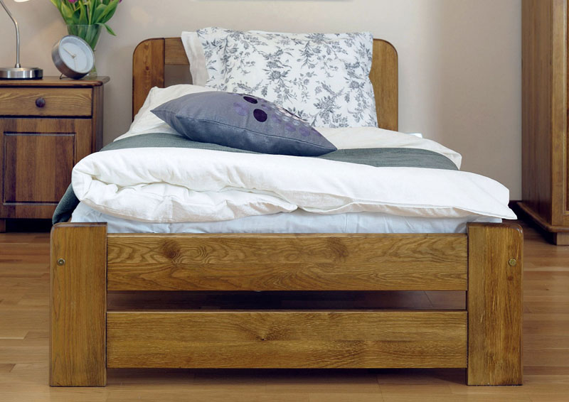 Wooden Bed Frame 140x200 Double Full Oak Color Solid Wood